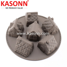 6 Cavity Silicone Gingerbread House Cake Baking Molds